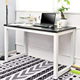 OUBLANC Modern Simple Design Computer Desk Table Workstation for Small Space Place Movable Home Study Table Office Writing Table (Black)