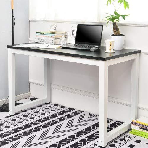 OUBLANC Nowoczesny prosty design biurko komputerowe stacja robocza dla małego miejsca ruchomy dom gabinet stół biuro stół do pisania (czarny)
