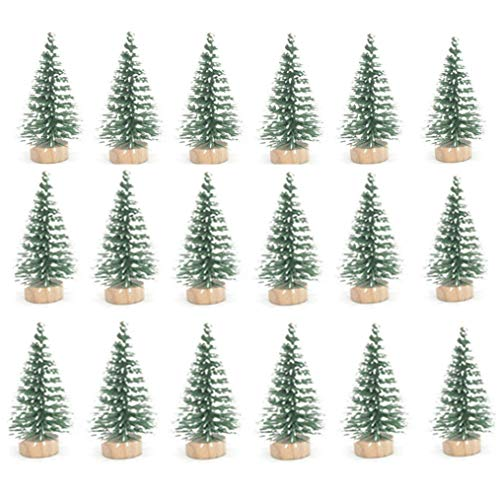24pcs Mini Pine Sisal Snow Frost Trees with Wood Base Bottle Brush Trees Plastic Winter Snow Ornaments Tabletop Trees for DIY Room Decor Home Table Top Decoration