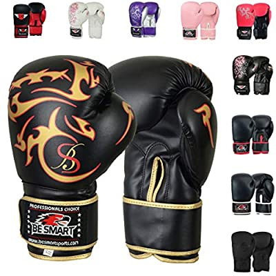 BeSmart Kids Boxing Gloves 4-12 Years 4oz 6oz Training Gloves for Children Sparring Youth Boxing Gloves Junior Training Mitts Punch PU Leather MMA Muay Thai Kick Boxing (Black Gold Tatoo, 6 Oz)