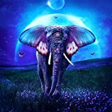 Kit de pintura de diamantes 5D,Cielo azul flores prado animales elefante Bordado redondo del punto de cruz del diamante del taladro para los niños de los adultos, para la decoración casera