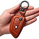 Tukellen for BMW Genuine Leather Key Fob Cover with Keychain,Leather Key Case Key Shell Compatible with BMW X1,X2,X3,X4,X5,X6,5 Series 7series-Brown