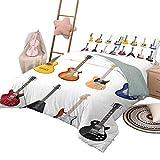 DayDayFun Housse de Couette imprimée Housse de Couette imprimée Guitare Une Grande variété d'instruments à Cordes Motif Musical réaliste Jazz Blues Acoustic Queen Size Multicolor