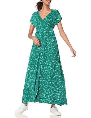 Amazon Essentials Solid Surplice Maxi Dress, Estampado de Hojas de Vid Verde, XL