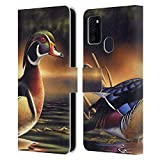 Official Chuck Black Backwoods Marsh Bird Art Leather Book Wallet Case Cover Compatible for Samsung Galaxy M30s (2019)