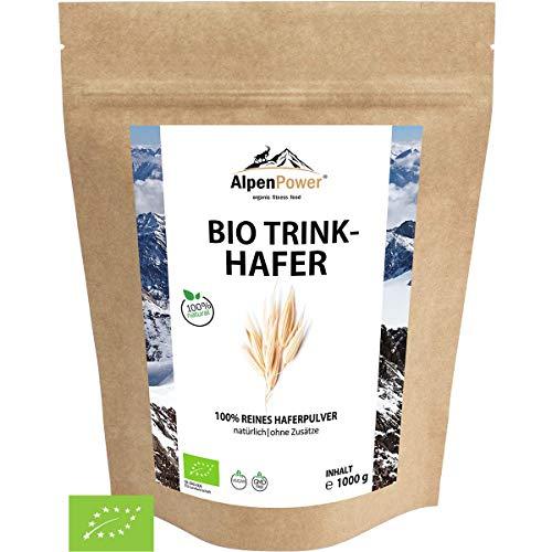 AlpenPower BIO TRINKHAFER 1000g I 100% reines Hafervollkornpulver ohne Zusatzstoffe | Glutenfrei & reich an komplexen Kohlenhydraten I Gute Löslichkeit