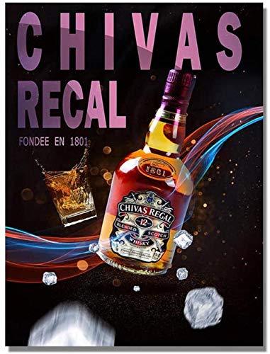 Kits de Pintura de Diamantes 5D Bar Cerveza Vino Arte de la Pared Whisky Cartel nórdico Botella Fotos Pared para Sala de Estar Club Noche Fiesta Decoración Mosaico Diamante Redondo Sin Marco 30x40cm