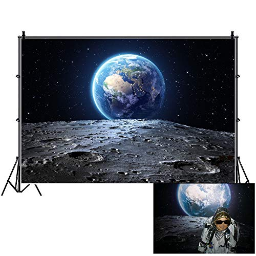 OFILA Universe Backdrop 7x5ft Outer Space Photography Background Earth Surface Planet Stars Footprints Kids Astronaut Party Event Decoration Children Birthday Party Background Toddlers Shoots Video