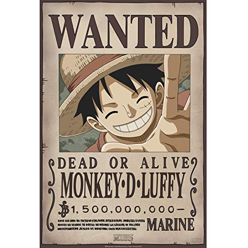 Tainsi One Piece – Wanted Luffy New – Póster julista 28 x 43 cm