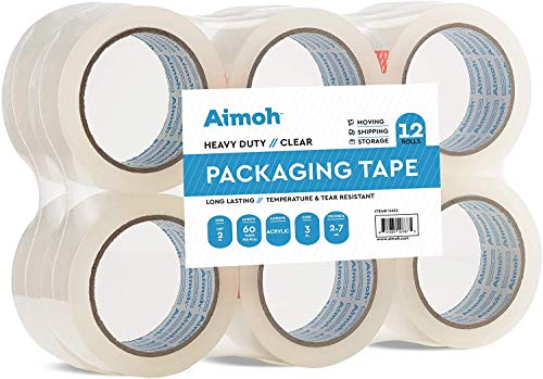 12 Rolls Heavy Duty Clear Packing Tape -Acrylic Adhesive- 2.7mil Super Strong Commercial Grade- Size 1.88 x 60 Yard- 3 Inch Core- Refill - Moving-Packaging-Shipping - 12 Rolls (11632)
