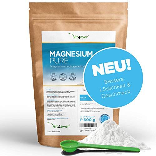 Vit4ever® Magnesium Pure - 600 g Pulver - 100% Magnesiumhydrogencitrat - 130 Tagesportionen (4,3 Monate Vorrat) - Laborgeprüft - Reines Pulver ohne Zusätze - Premium Qualität - Vegan