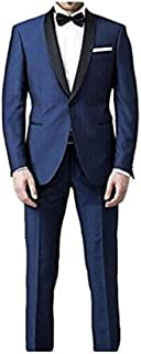 Men's 2 pc Shawl Navy Suits Wedding Suits Groom Tuxedos