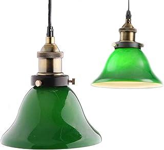 Zielone światło wiszące, kreatywne przemysłowe oświetlenie domowe, styl Edisona winobrania, pokój dzienny, retro szmaragdo...