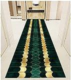 WMin Runner para pasillo, cocina, antideslizante, lavable, entrada, entrada, entrada, gran puerta, escalera, color verde, dorado, 6 mm de grosor (color: multicolor, tamaño: 100 x 700 cm)
