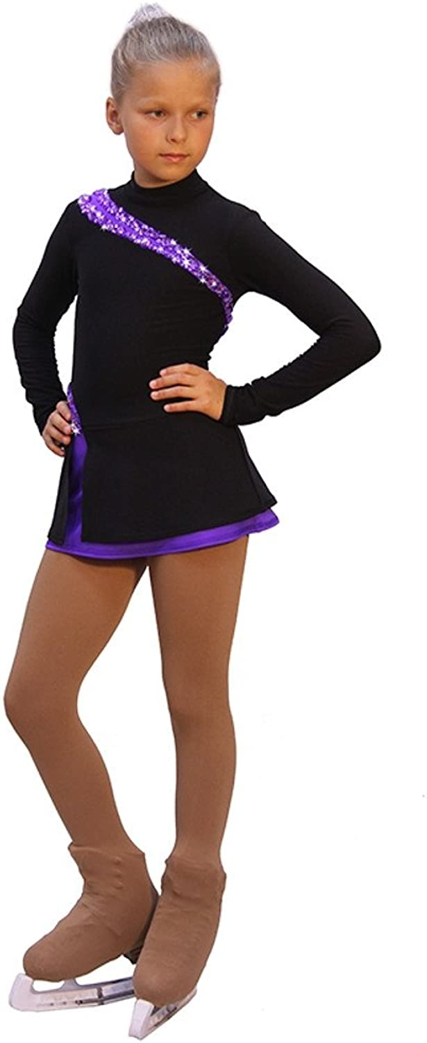 IceDress Figure Skating Dress  Lasso(Black with Purple)