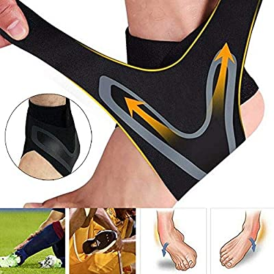 LHB Ankle Support Brace, Adjustable Ankle Brace with Breathable & Elastic Nylon Material, Comfortable Ankle Wrap Sports Protect Against Chronic Ankle Strain Sprains Fatigue Fits All (1 Pair) (XL)