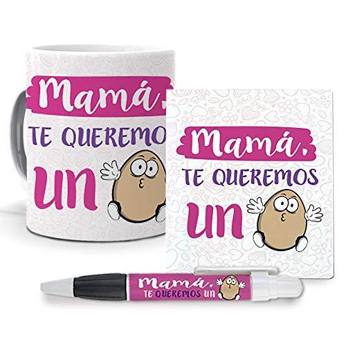 mundohuevo Pack Original y Personalizado Dia de la Madre. Mama te Queremos un Huevo. Libreta, boligrafo y Taza Maxima Calidad.