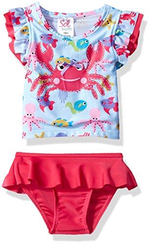 Sol Swim Baby Girls' Solo Born-Sea Life School Rashguard Set, Multi, 6-9M