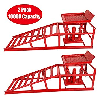 TYFYB 2 Pack 10000lbs Capacity Low Profile Car Lift Service Ramps Truck Trailer Garage Automotive Hydraulic Lift Repair Frame Lift Height Hydraulic Vehicle Ramps