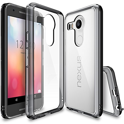 Ringke Fusion Compatible with Nexus 5X Case Clear PC Back TPU Bumper with Screen Protector Drop Protection, Shock Absorption Technology Attached Dust Cap for LG Google Nexus 5X - Smoke Black