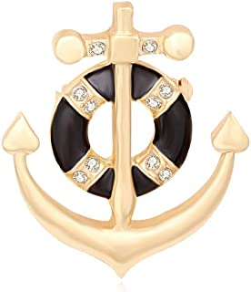 Exquisite Gold Silver Crystal Nautical Sailor Navy Rudder Sailboat Anchor Brooch Pin