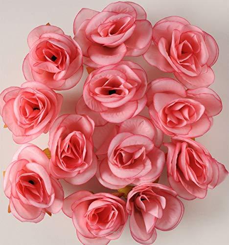 Artif-deco - Tetes de rose artificielle x 12 saumon d 4 50 cm pour boule de rose