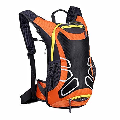 Cycling Backpack, 15L Running Rucksack, Waterproof Breathable Cycling Rucksack, Ski Rucksack for Biking Hiking Camping Mountaineering Skiing Trekking with Hidden Bottom Net Bag ( Color : Orange )