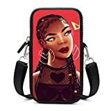NiYoung Premium Nylon Smartphone African American Black Woman Girl with Crown Painting Purse Passport, Credit Card Cosmetic Bag with Zipper and Removable Shoulder Strap