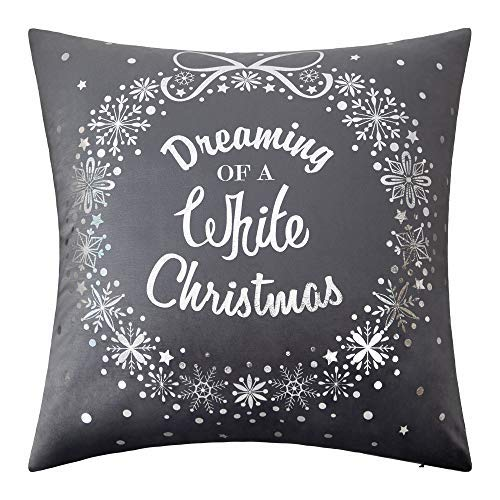 Amazon Com Jwh Christmas Throw Pillow Cover Decorative Cushion Cover Silver Foil Festival Wishes Pillow Case Home Bed Living Room Chair Festival Pillow Protector 18 X 18 Inch Dreaming A White Christmas Gray