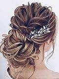 Vakkery - Horquillas para el pelo de novia con cristales plateados, con diamantes de imitación, accesorio para el pelo de novia para mujeres y niñas, paquete de 2