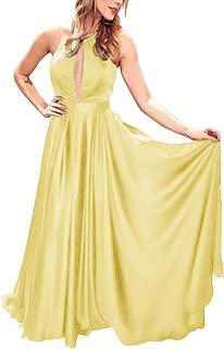 Jonlyc A-Line Halter Keyhole Open Back Satin Long Prom Evening Dresses