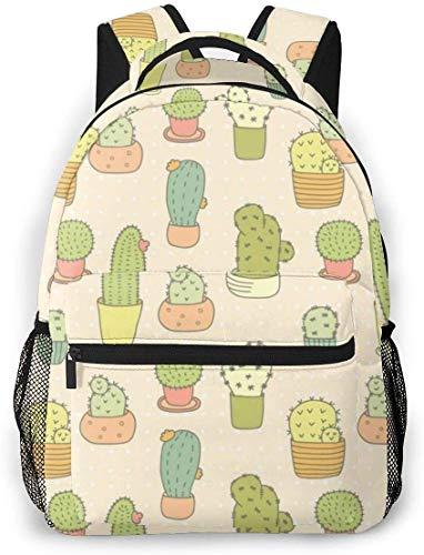 Cute Cactus Bonsai Bookbag Lightweight Laptop Bag for School College Travel Bags Backpack