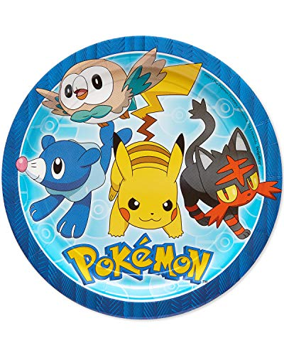 American Greetings Pokemon Party Supplies Disposable Paper Dinner Plates, 40-Count