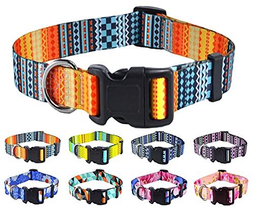Mihqy Collar Perro, Collar de Perro Mascota Ajustable para Gato Cachorro Perros, diseños Modernos, para Perros pequeños, medianos y Grandes (M- Cuello 33-55cm, Ancho 2cm, Naranja Bohemia)