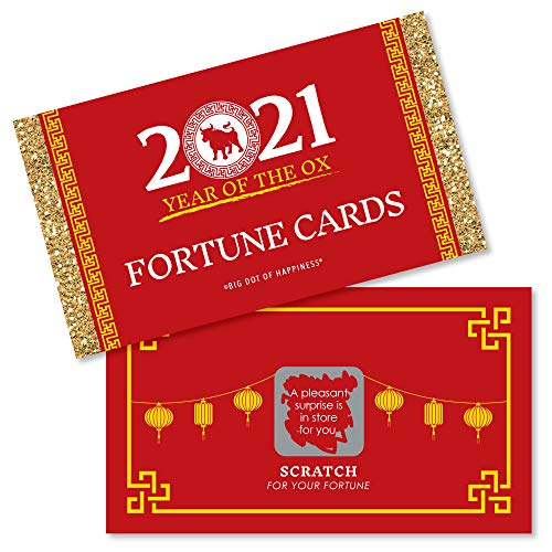 Big Dot of Happiness Chinese New Year - 2021 Year of The Ox Party Scratch Off Fortune Cards - 22 Count