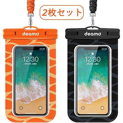 防水ケース「2枚入」スマホ防水ケース IPX8認定獲得 iPhone11 pro Max/Xs Max/8 Plus/7plus、Xperiaシリーズ 、SHARP、Samsung等全機種対応 、海 プール 釣り 砂浜 ダイビング お風呂 水遊び等で大活躍 高級ネックストラップ付属 防水携帯ケース スマホ用防塵・防水ケース (黒+オレンジ)