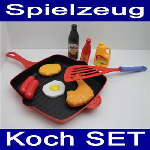 Land-Haus-Shop Kochzubehör Set 9 TLG., Kunststoff, Pfanne, Wender, Kinder Koch Küchen Zubehör (LHS)