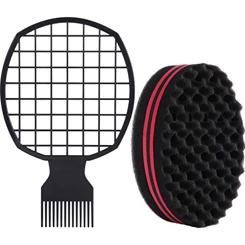 2 Pieces Afro Twist Hair Comb with Twist Wave Barber Tool Twist Brush Curl Comb Twist Hair Sponge Twist Wave Curl Brush Comb Twist Hair Coils Comb for Natural Hair (Black)