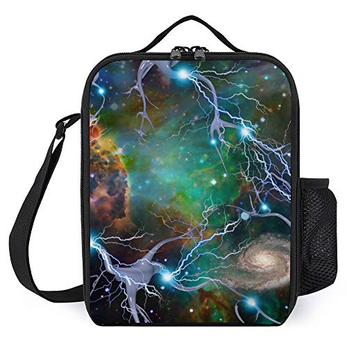 Bolsa de almuerzo para mujer y hombre, colorida con diseño de cielo estrellado con aislamiento para entrenamiento, resistente al agua