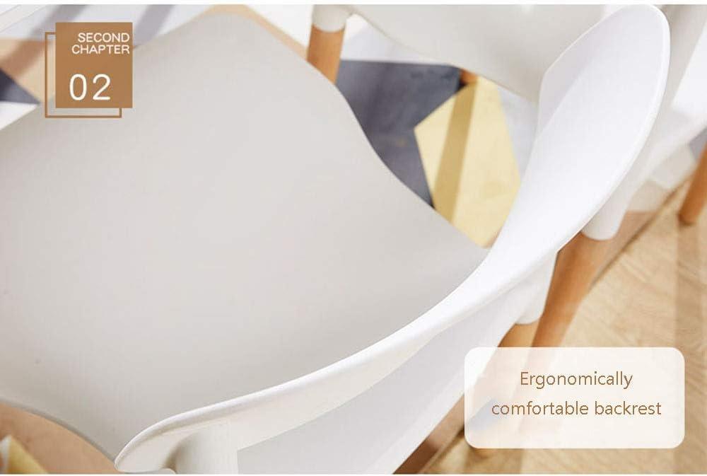 HTL Chaise Repas, Chaise En Plastique Avec Dossier, Bureau D'Accueil Simple Ordinateur Chaise En Polypropylène Et En Bois Massif,B C