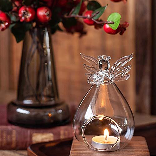 KinkGlass 6 Stück Hängende Kerzenhalter Glas Teelichthalter, Klarglas Engel Kerzenhalter für Dekoration Haus, Büro oder Bar