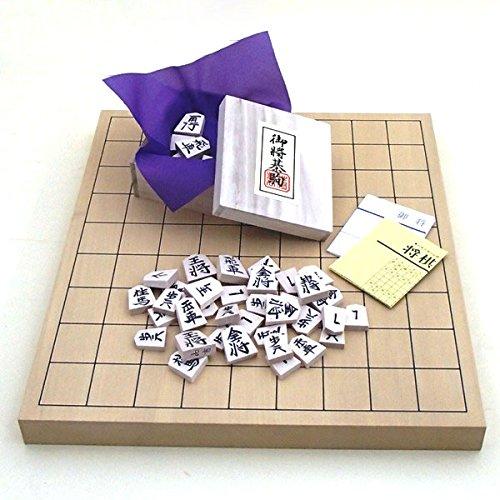 将棋セット 新桂1寸卓上接合将棋盤と白椿中彫駒のセット
