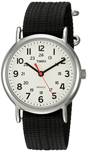 Timex Unisex TWC027600 Weekender 38mm Cream/Black Nylon Slip-Thru Strap Watch
