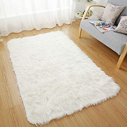 OJIA Deluxe Soft Fuzzy Fur Rugs Faux Sheepskin Shaggy Area Rugs Fluffy Modern Kids Carpet for Living Room Bedroom Sofa Bedside Decor(3 x 5ft, Ivory White)