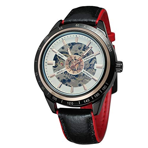 Cloudbox Reloj mecánico - Reloj mecánico automático masculino correa de cuero redondo (blanco + rojo) para hombres