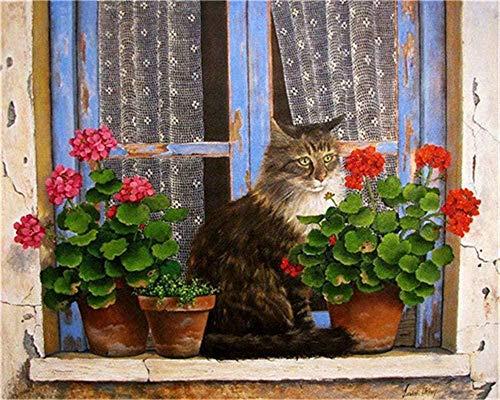 HCDZF Malen nach Zahlen Kit f¨¹r Erwachsene Anf?nger DIY ?lgem?lde Katze und Blumen auf der Fensterbank Zeichnung mit Pinseln Dekor Dekorationen Geschenke 40x50cm