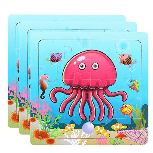 TOYANDONA Houten Dier Puzzel Bordspel Kwallen Puzzel Speelgoed Montessori Educatief Speelgoed Voor Peuters Kinderen Kinderen 3 Sets