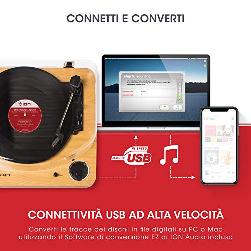 ION Audio Max LP - Giradischi Vinili a tre velocità con Casse, uscita Cuffie, Conversione USB + Software, uscite RCA Standard - Finitura in Legno