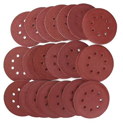 HONYGE LXGANG abrasivo abrasivo, 105 piezas de 5 pulgadas grano 8 agujeros Flocado disco de lija 60/80/100/120/150/180/240