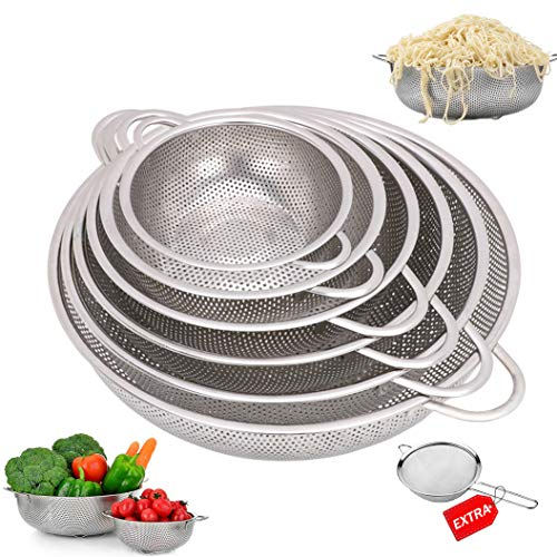 Stainless Colanders,6-Piece Stainless Steel Mesh Micro-Perforated Colander Strainer Set-with Handle and Base, Extra 12cm Strainer - (1-Quart, 2-Quart, 2.5-Quart, 3.5-Quart, 4.5-Quart and 5.5-Quart)